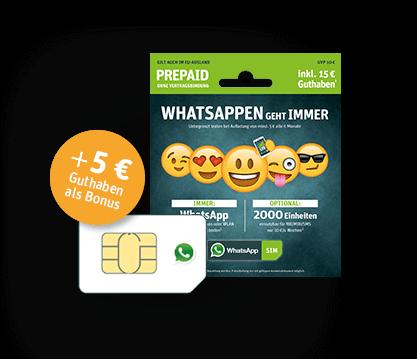 WhatsApp SIM Prepaid Karte inkl. Startguthaben