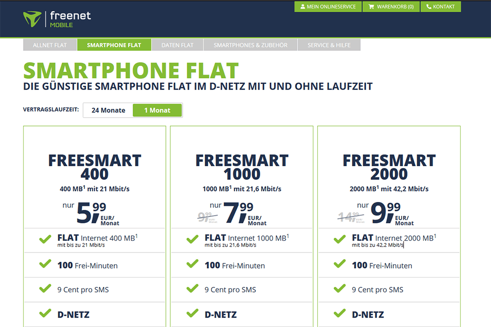 Freenetmobile Prepaid Tarife