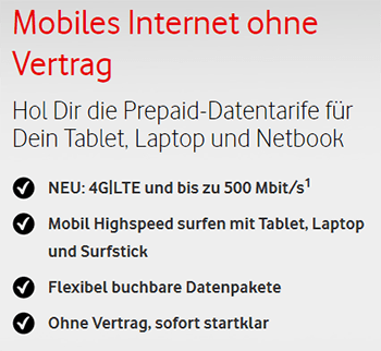 Vodafone Prepaid Datentarif