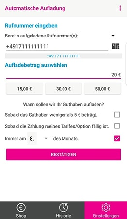 Telekom Prepaid App zum Aufladen
