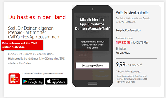 Vodafone CallYa Flex App
