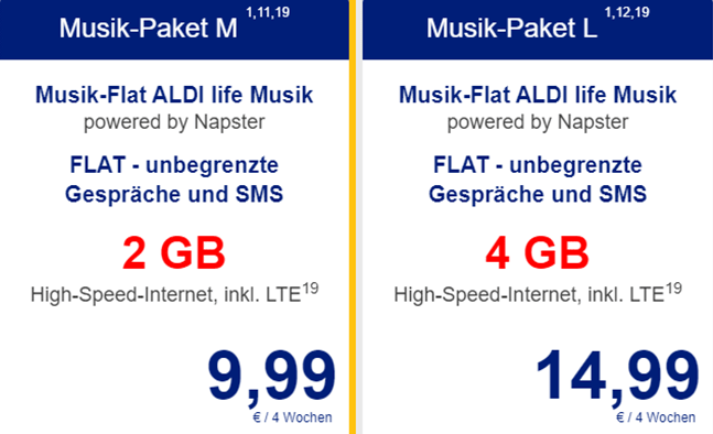 ALDI TALK Musik Streaming-Pakete
