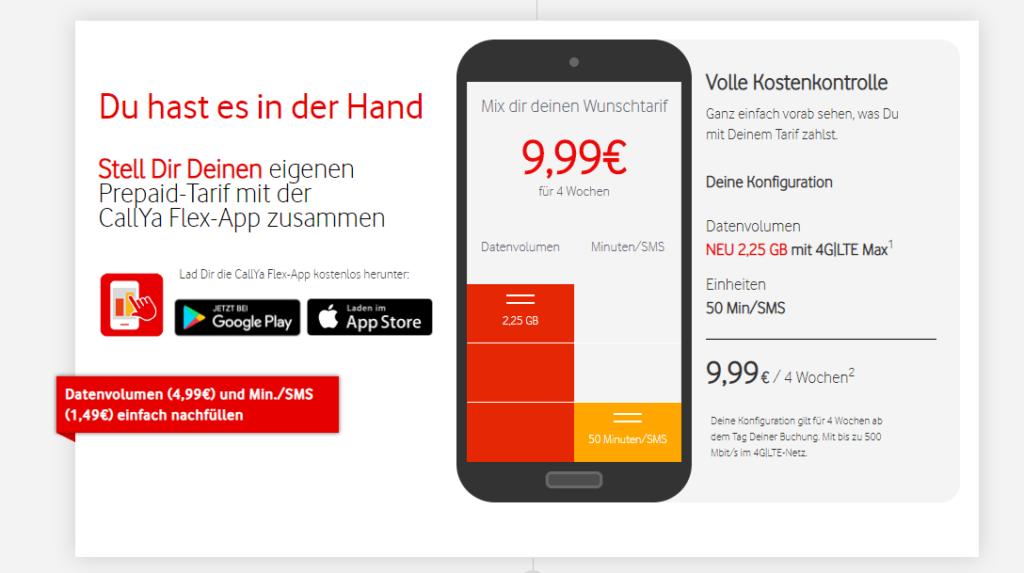 Vodafone Callya Flex: Handytarif selbst zusammenstellen
