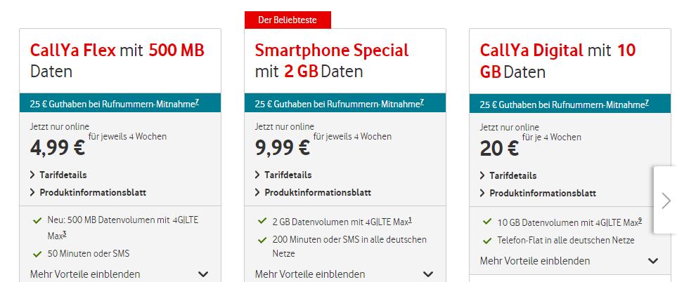 Vodafone CallYa Prepaid Tarife in der Übersicht