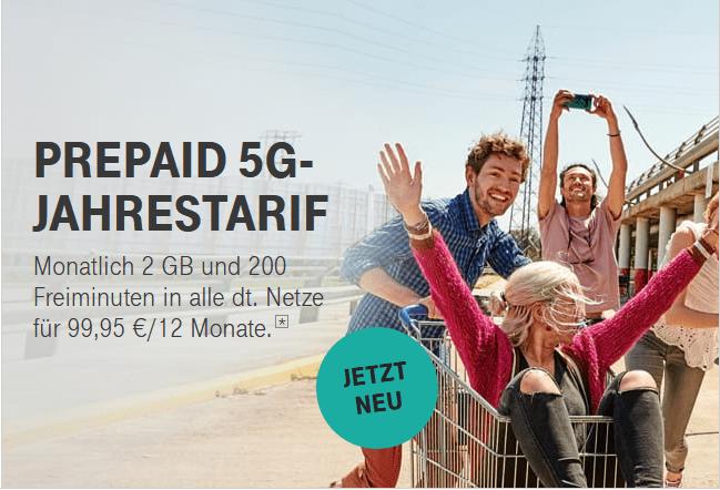Telekom MagentaMobil Prepaid Jahrestarif: Nur 99,95 € für 12 Monate