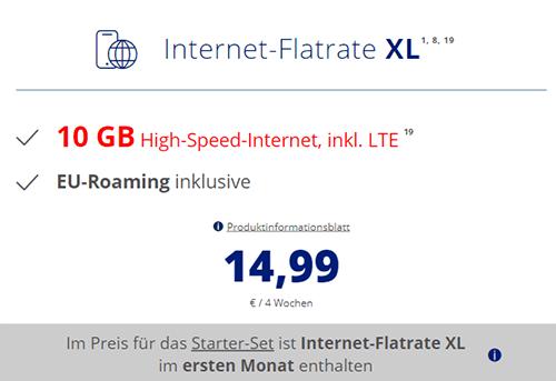 ALDI TALK Internet-Flat XL - 10 GB Datentarif für 14,99 Euro mtl.