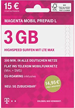 Telekom MagentaMobil Prepaid L inkl. 3 GB Datenvolumen