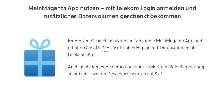 Telekom - 500 MB Datenvolumen gratis für App-Nutzer